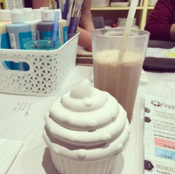 The frothiest, yummiest iced coffee ever with my cupcake.