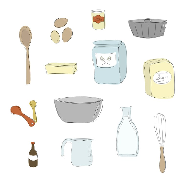 Baking ingredients and supplies illustration