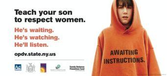 Pour les masculinistes, cette affiche de l'état de New York contre les violences conjugales est déjà « misandre » car elle demande aux garçons d'apprendre à respecter les femmes.