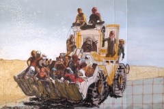 Yazidis rescued by Kurdish peshmerga - pastel on card