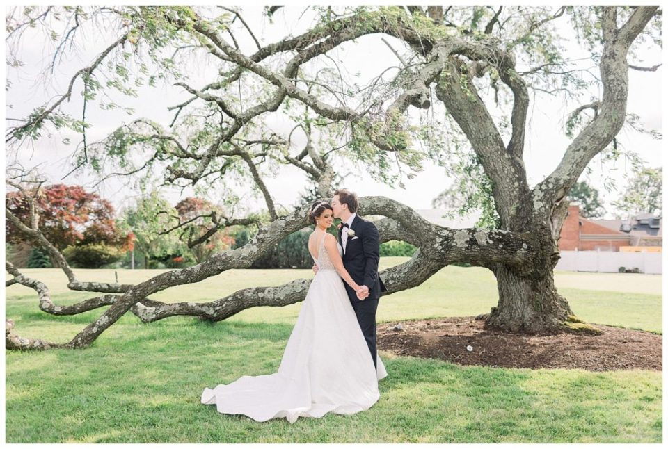 bride and groom at the Penn Oaks Golf Club