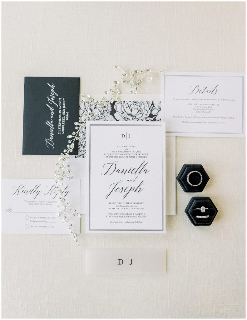 black and white wedding invitation at Park Chateau