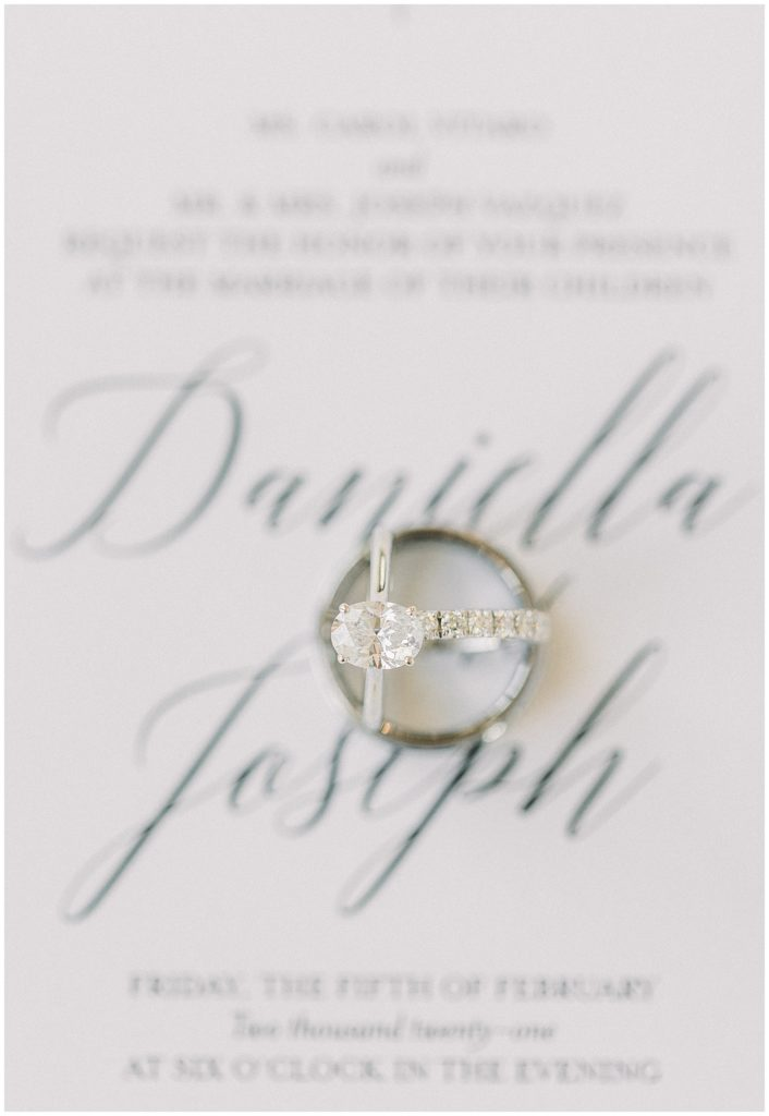 elegant engagement ring at Park Chateau in New Jersey
