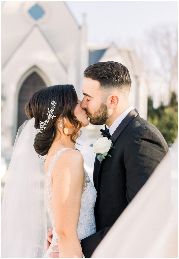 Bride and Groom at their winter wedding at Park Chateau in East Brunswick, New Jersey