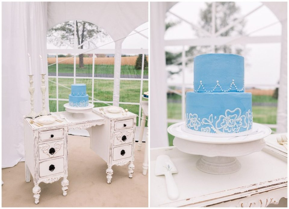 blue wedding cake at Phillipsburg, New Jersey wedding