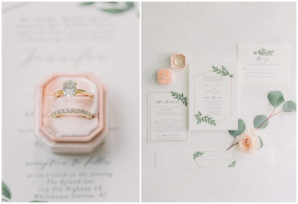 blush wedding invitations at Ryland Inn wedding