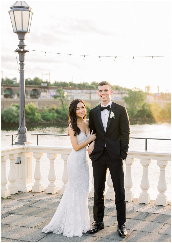 sunset photos of bride and groom at Philadelphia Water Works by Cescaphe