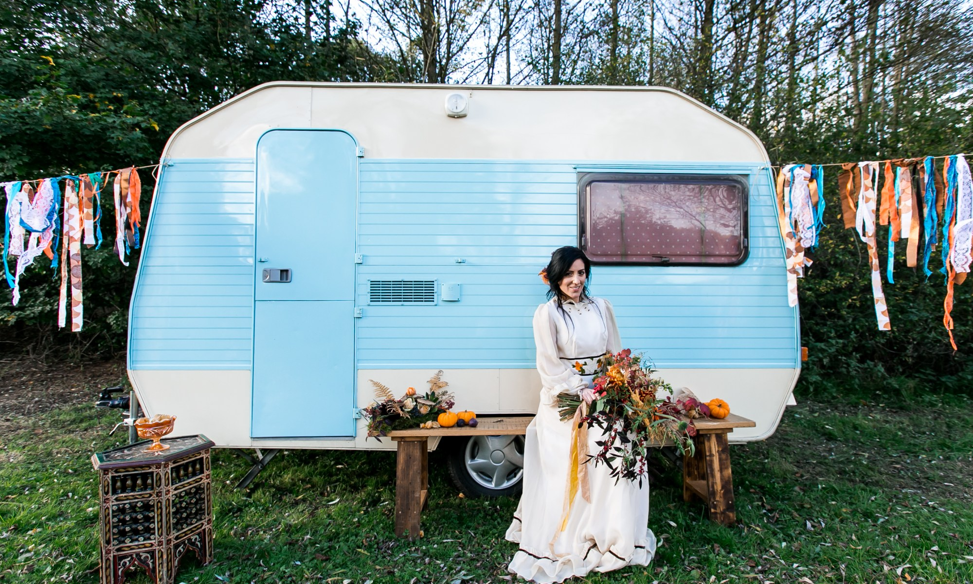 'winnie the vintage caravan', 'boho wedding venues essex', 'outdoor wedding venues essex', 'farm wedding venue essex', 'vintage wedding dress 1970s', 'lucky sixpence bridal wedding dress', 'orange and teal autumn wedding', 'autumn wedding colour ideas', 'biggest wedding trends of 2018', 'boho wedding trends 2018', 'alternative wedding photographer essex', 'autumn wedding bouquet ideas'