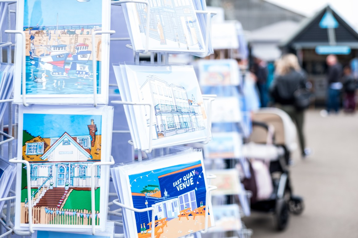 Day trip postcard from East Quay Venue, Whitstable