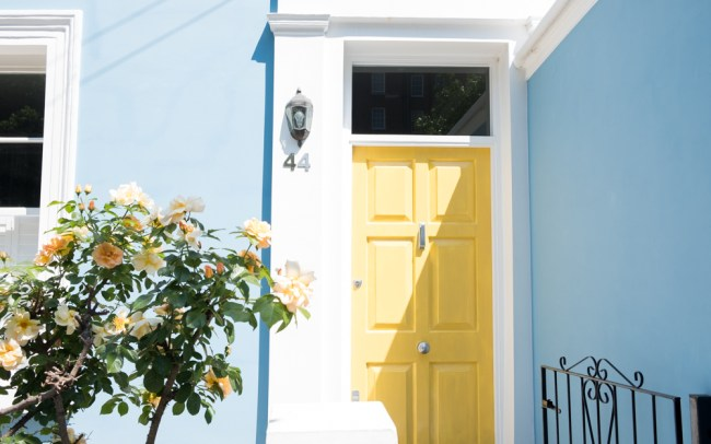 Blue house and yellow front door with yellow roses on Portabello Road