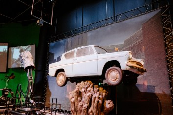 The famous flying car from Harry Potter shown on the studio set