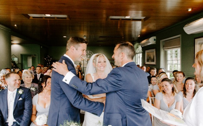 Bohemian bride being given away by brother