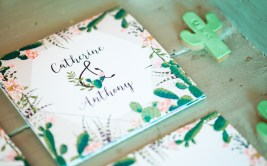 Cacti themed wedding invite