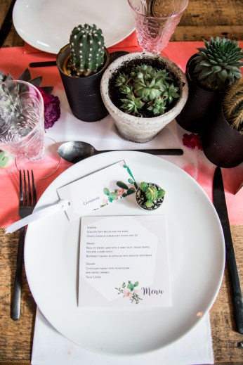 Wedding reception dinner set up with cacti theme