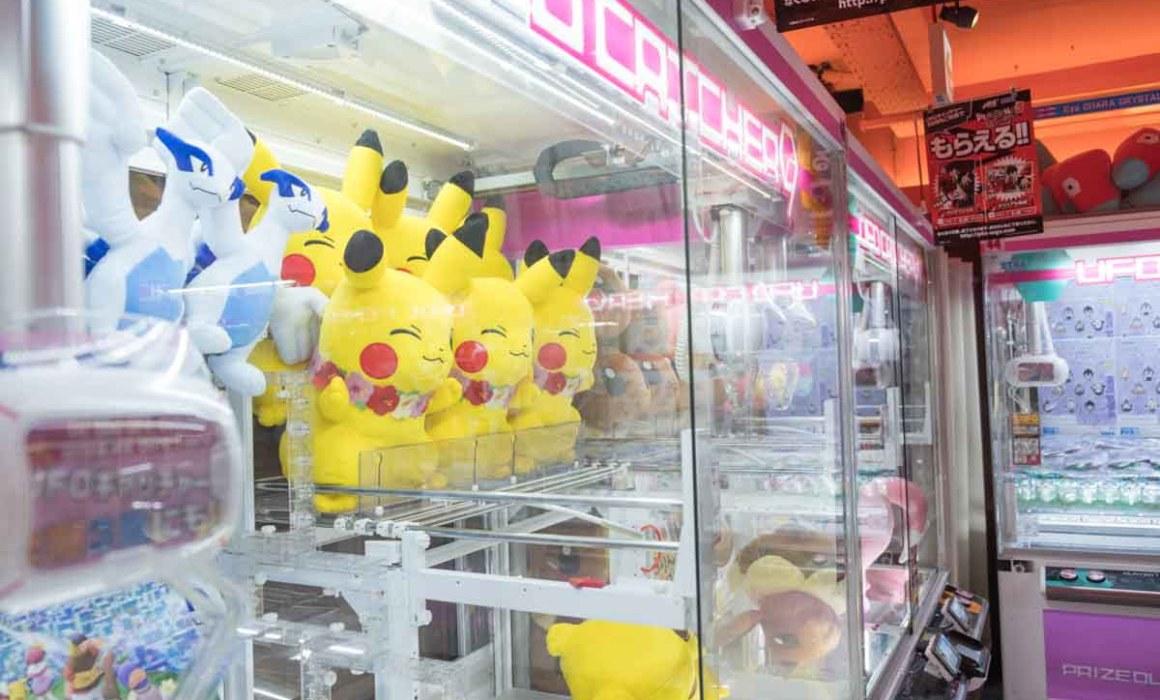 Pokemon Pikachu toys in arcade games in Tokyo
