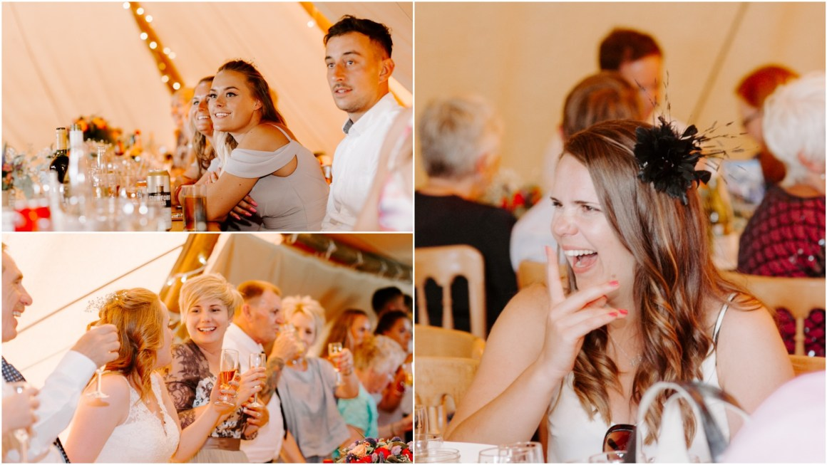 Natural reactions to wedding speeches