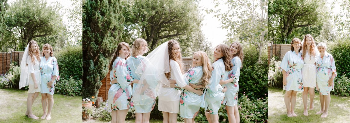 Bridal party dressed in matching silk dressing gowns