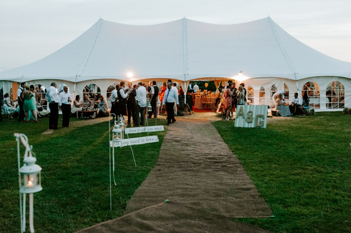 Wedding marquee at dusk