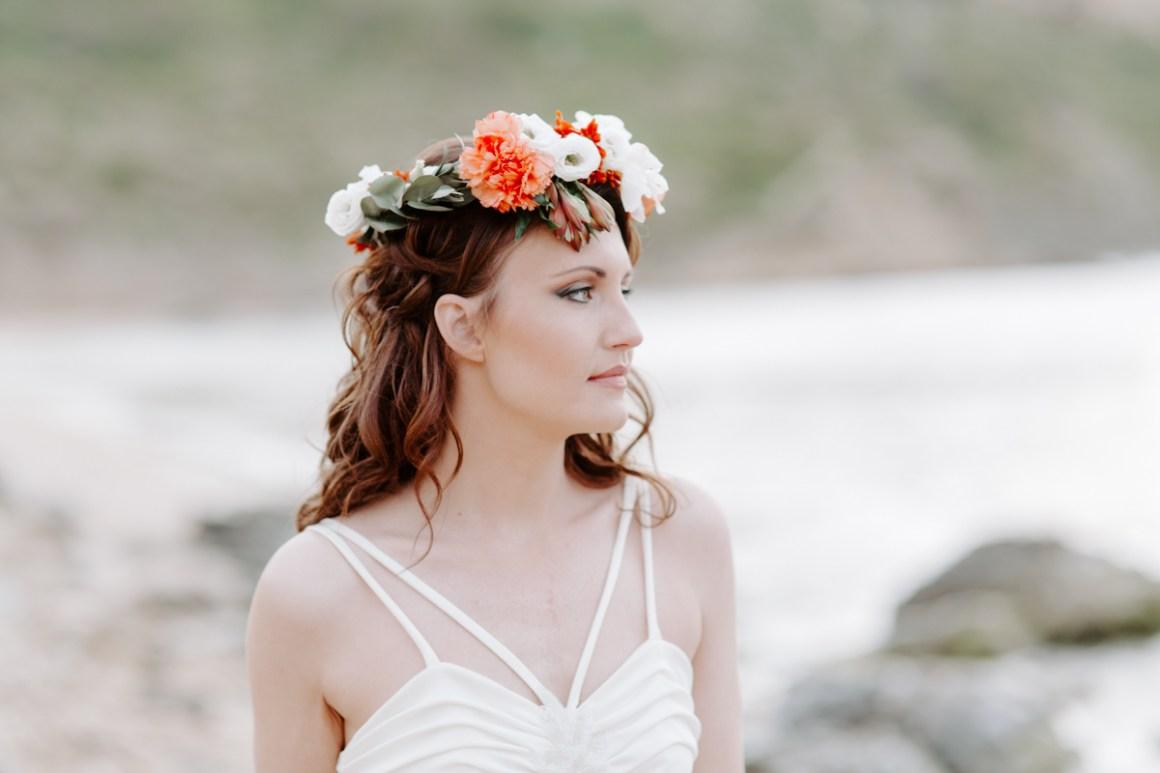 Bohemian bride at Malta beach wedding