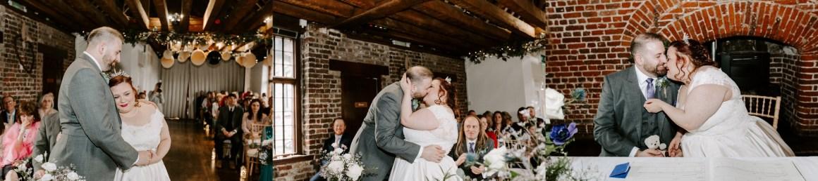 Wedding ceremony at the Tudor Barn wedding venue
