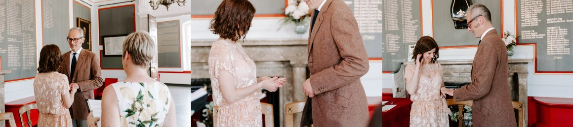 Couple exchanging rings at Rye Town Hall wedding