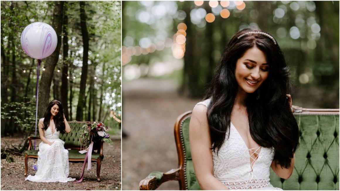 Bohemian bride sat in the woods at Longton Wood wedding venue