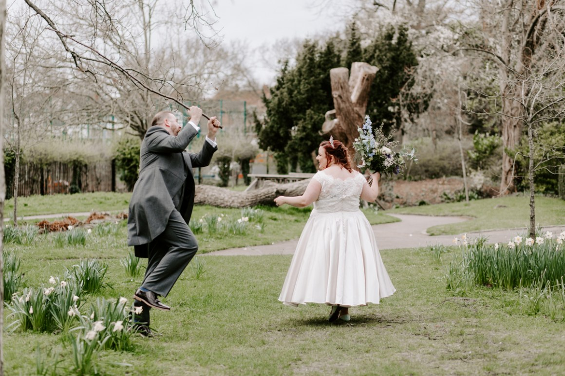 Fun wedding photography in London