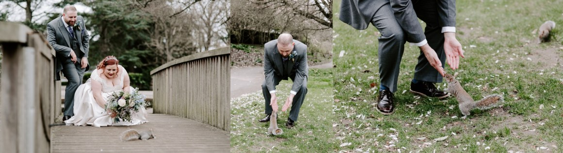 Bride and groom petting squirrels on their wedding day