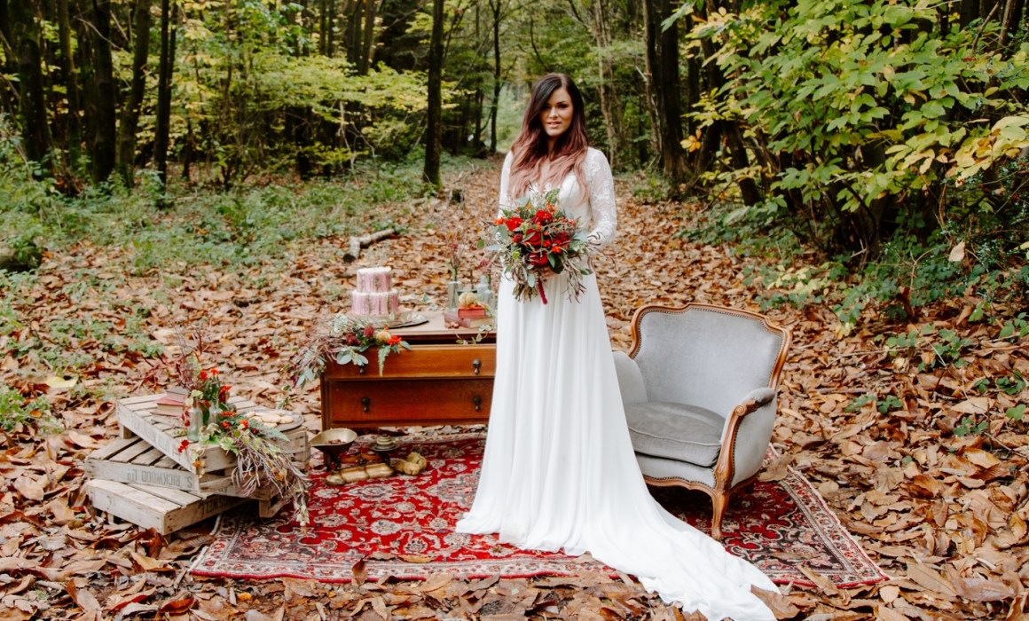 Bride stood in the woods in Kent