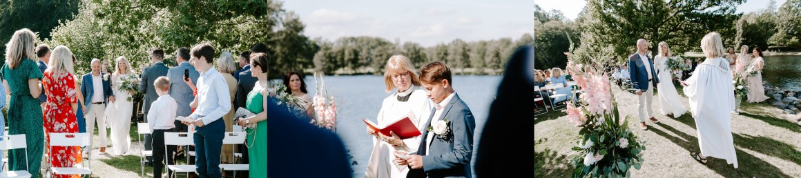 Wedding ceremony by the lake at Baldersnas Herrgard