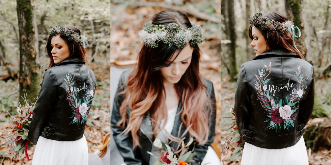 Bride in leather jacket at autumn woodland wedding