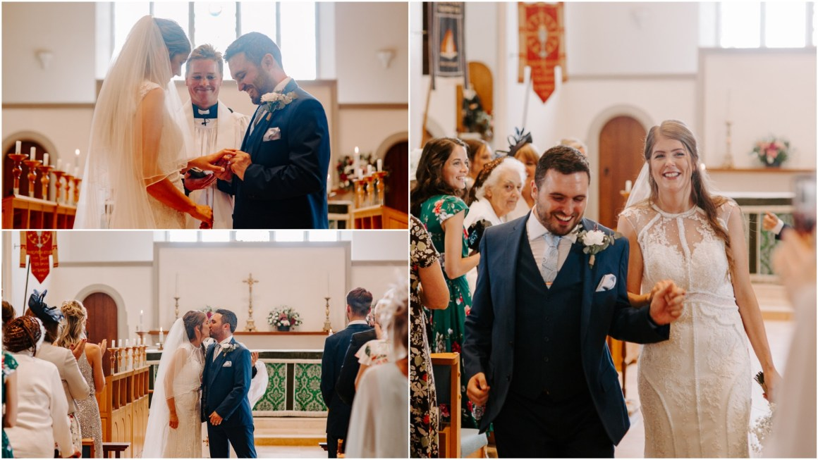 Couple walking down the aisle after Church wedding