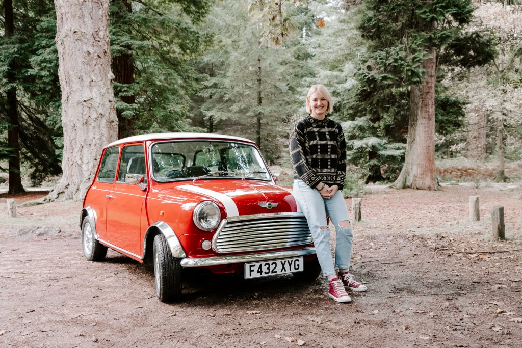 Blonde woman with her classic mini