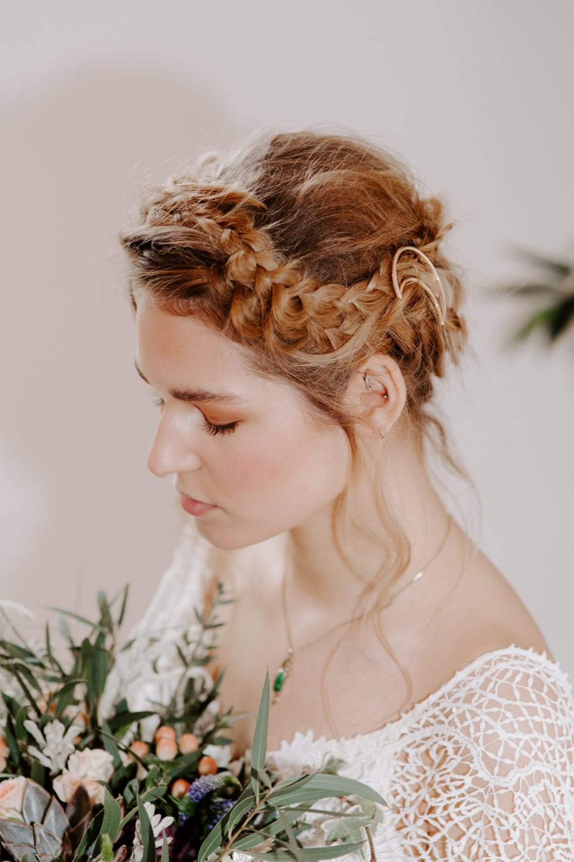 Bohemian bride with celestial hair clip and bride in Essex wedding