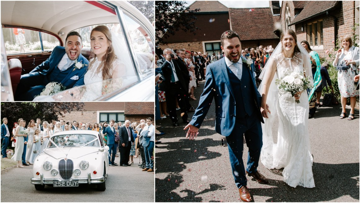 Confetti moment by a Hertfordshire wedding photographer