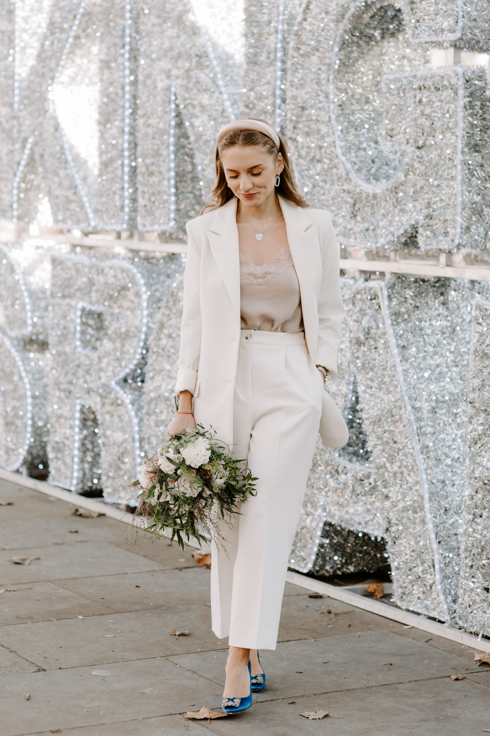 Modern Bride in suit at her London wedding