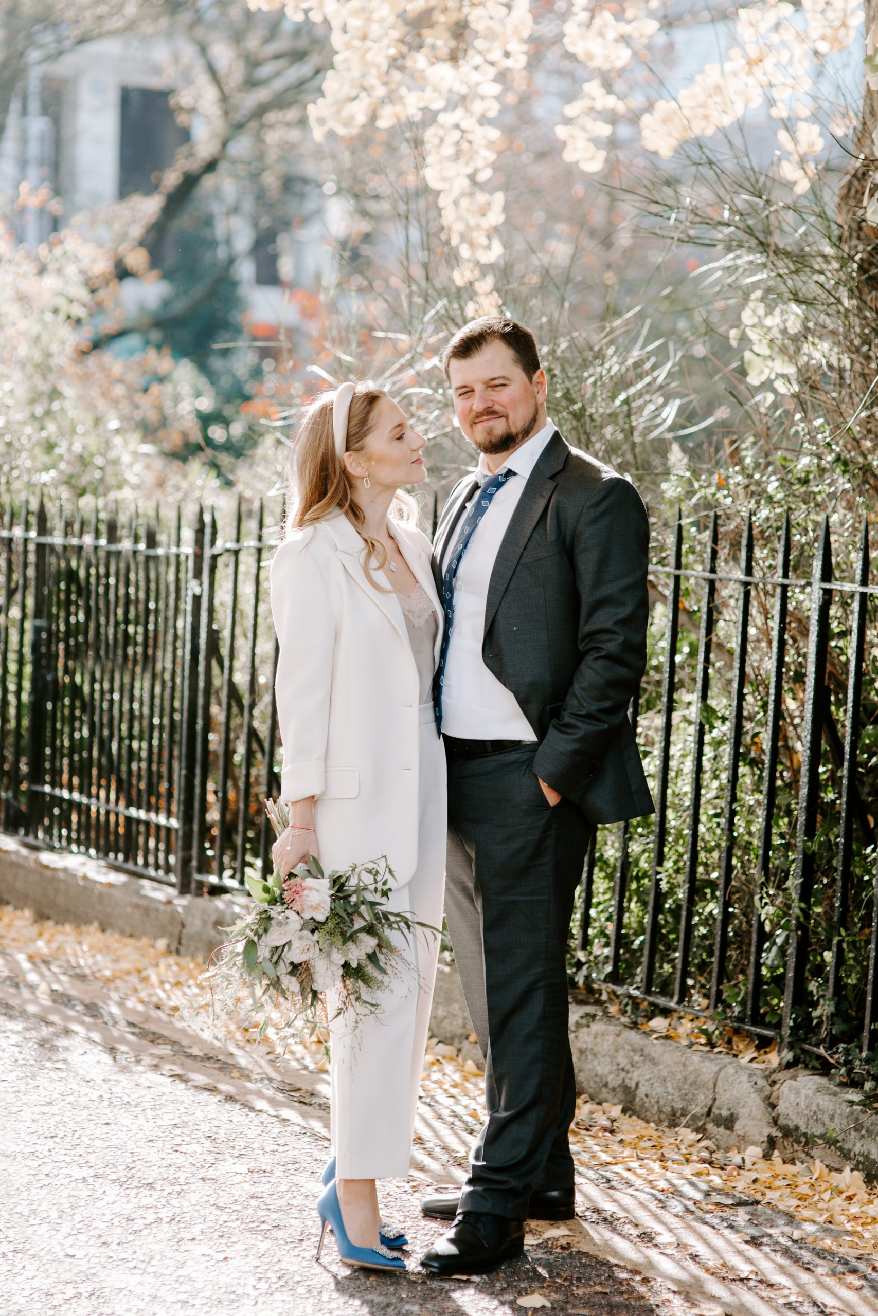 Bride and groom on London streets