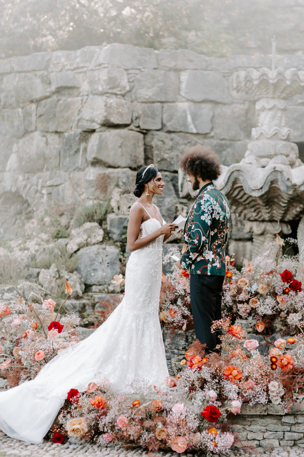Shropshire outdoor wedding ceremony with floral installation