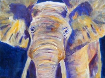 purple and yellow elephant print, multi-coloured elephant art, acrylic elephant on canvas