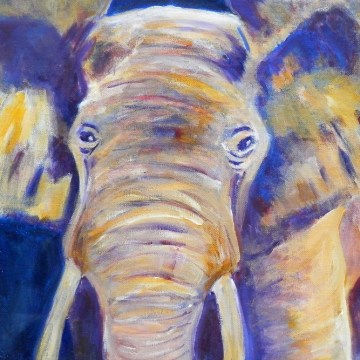 purple and yellow elephant print, multi-coloured elephant art, acrylic elephant on canvas