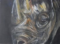 black rhino painting, endangered animal art, yellow painting