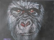 gorilla painting, ape art, red eyes, gorilla portrait