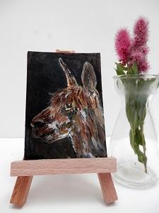 brown alpaca painting, alpaca ACEO, brown alpaca gift, llama art, alpaca art print, alpaca ACEOs, brown miniature alpaca painting