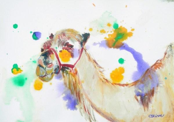 camel painting, camel art, desert painting, colourful smiling camel print