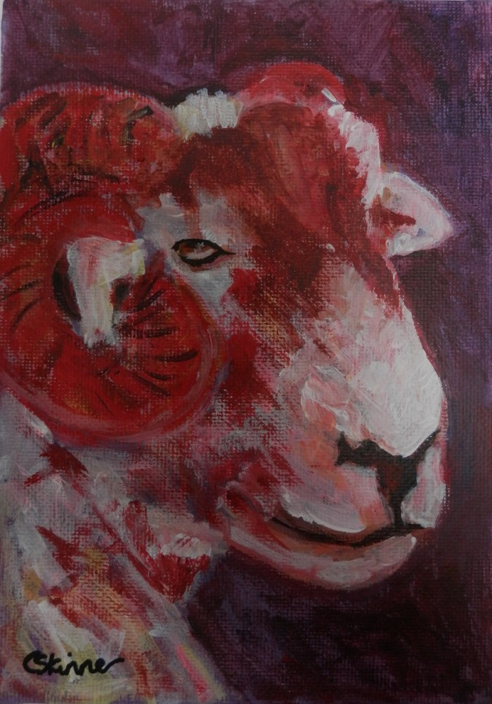 red sheep painting, sheep art, horned sheep, red sheep art, red sheep decor