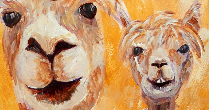couple of alpacas, llama art, yellow living room decor, golden yellow alpaca wall art