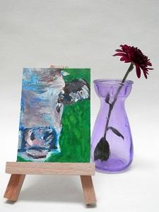 Miniature Purple Cow, cow art, cow painting, farm animal art, miniautre cow art print, original cow art