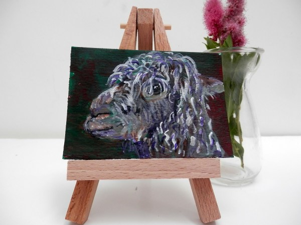 curly alpaca, alpaca painting, miniature ACEO alpaca art, llama gift, farm animal art