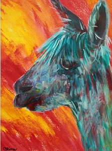 Turquoise alpaca painting, red and yellow background, funky alpaca modern art print, llama art, funky alpaca painting, abstract art