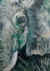 small green elephant, elephant ACEO painting, African elephant art, green animal ACEO